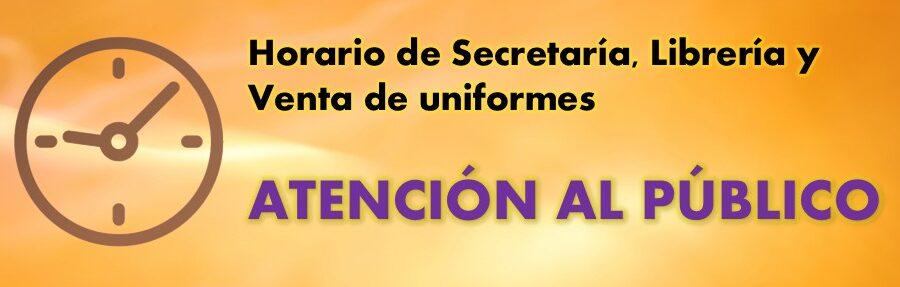 Horario de Secretaría, Librería y Venta de uniformes
