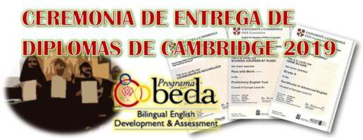 Ceremonio BEDA de entrega de diplomas de Cambridge