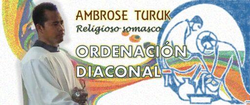Ordenación diaconal de Ambrose Turuk, religioso somasco