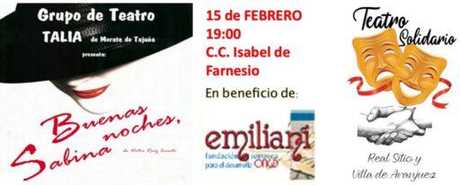 """Teatro solidario """"Buenas noches, Sabina"""" @ C.C. Isabel de Farnesio"""