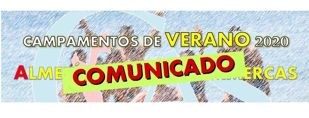 Comunicado. Campamentos de verano 2020
