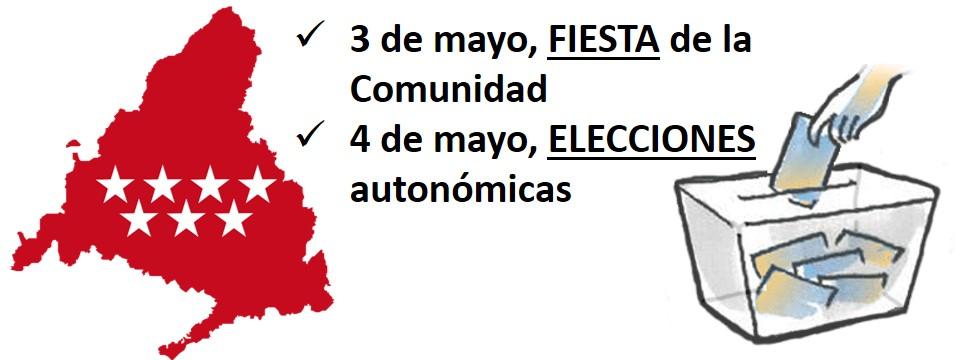 3 de mayo, fiesta de la Comunidad, y 4 de mayo, elecciones autonómicas, días no lectivos