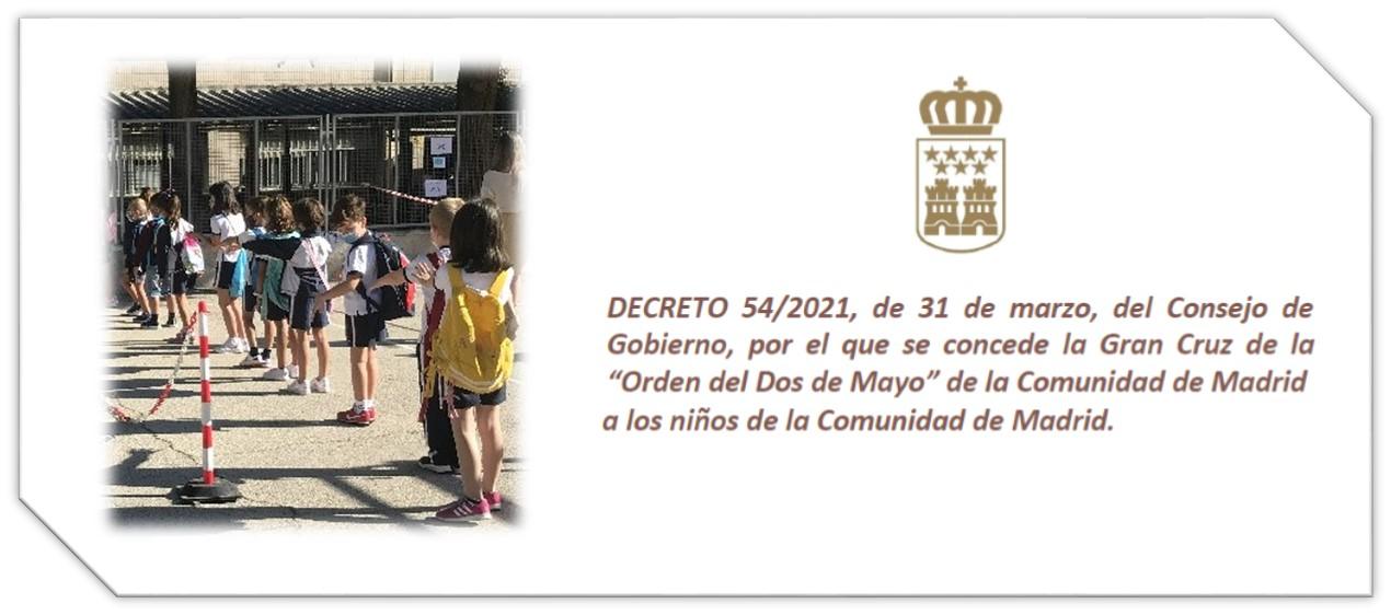 Gran Cruz de la Orden del Dos de Mayo concedida a todos los niños de la Comunidad de Madrid